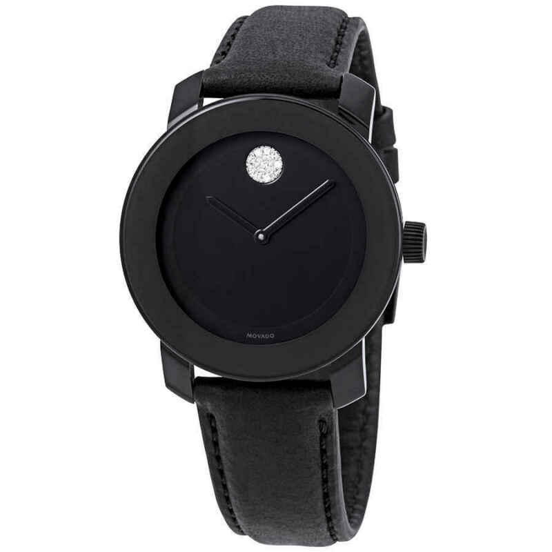 Movado Bold Black Dial Black Leather Ladies Watch 3600483