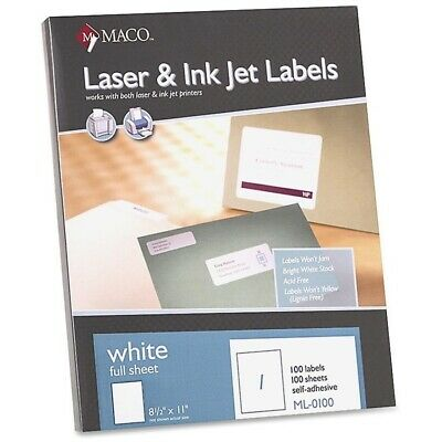 Maco White Laserink Jet Full Sheet Labels - Ml0100 100 Labels
