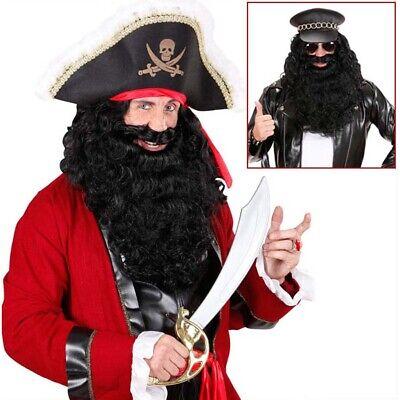 SCHWARZER DELUXE XL VOLLBART # Piraten Rocker Knecht Ruprecht Kostüm Bart - Volle Piraten Kostüm