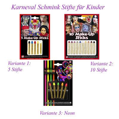 KINDER MAKE UP STIFTE Neon Karneval Halloween Schminke Clown Kostüm Zubehör MU13