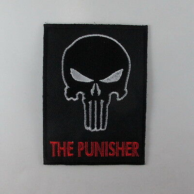 BLACK PUNISHER SKULL ARMY SWAT EMBROIDERED IRON ON PATCH T-SHIRT JACKET JEAN AA