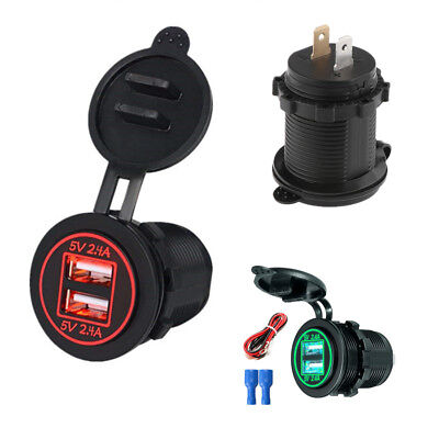 Red LED Dual Outlet Car Boat USB Charger Power Socket 2.4+2.4A w/ Cable 12/24V segunda mano  Embacar hacia Mexico