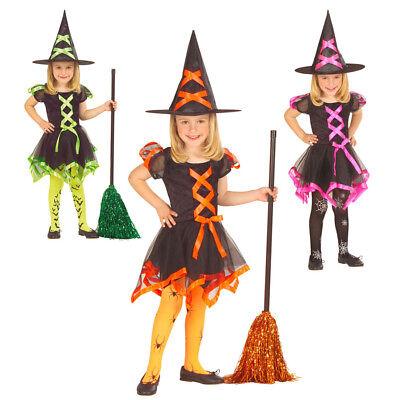KINDER HEXENKOSTÜM & HUT Halloween Mädchen Hexen Kostüm Party Kleid 110-116 3687