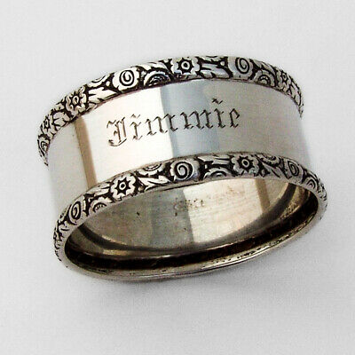 Repousse Floral Border Napkin Ring Webster Sterling Silver Inscribed