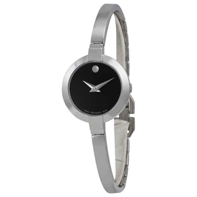 Movado Bela Black Dial Stainless Steel Bangle Ladies Watch 0606595
