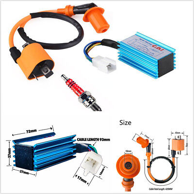 MOTORCYCLE SCOOTER RACING CDI BOX 5 PIN  IGNITION COIL SPARK PLUG FO