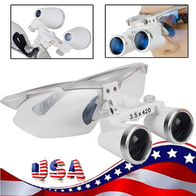 Silver Dental Surgical Binocular Loupes Optical Lens 3.5x 420 For Head Light