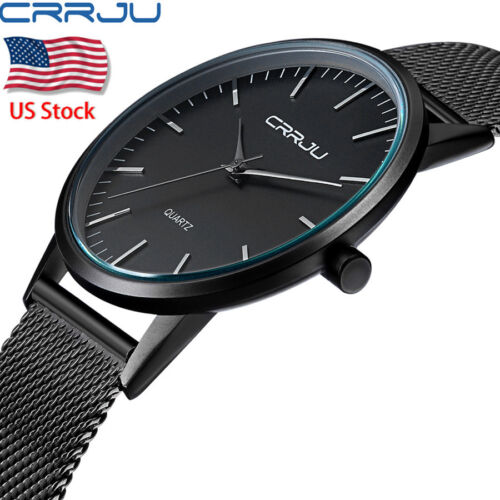 $8.54 - Men's Luxury Thin Casual Watch Sport Quartz Analog Wrist Watches Stainless Steel