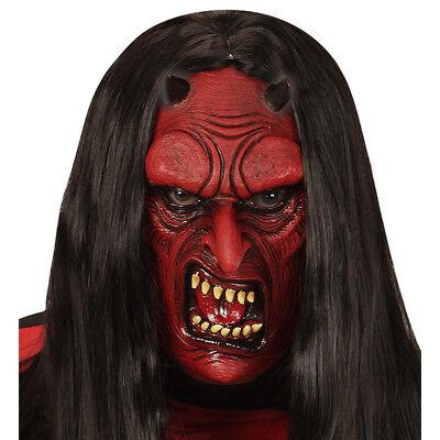 TEUFEL MASKE KINDER Halloween Karneval Fasching Kostüm Zubehör Satanmaske  00614
