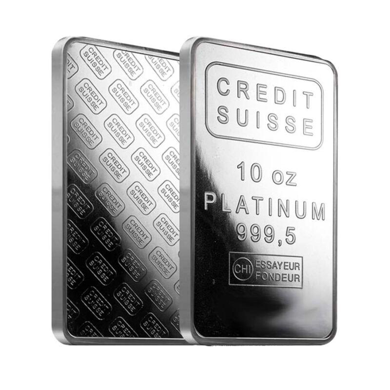 10 oz Credit Suisse Platinum Bar .9995 Fine (w/Assay)