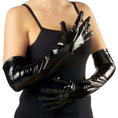 SCHWARZE LACKHANDSCHUHE Gothic Damen Lange Lack Handschuhe GoGo Kostüm Show 3451