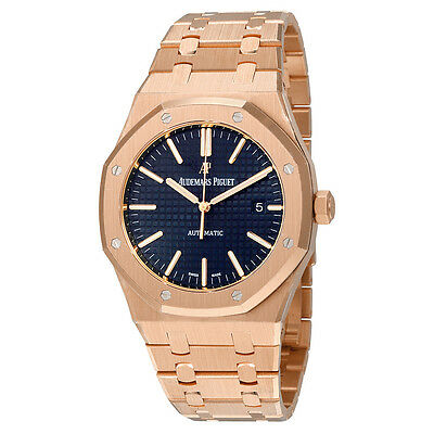Audemars Piguet Royal Oak Automatic Blue Dial 18kt Pink Gold Mens Watch