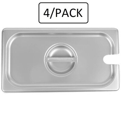 4pack 13 Size Spoon Pan Lid Stainless Steel Steam Hotel Prep Table Food Cover