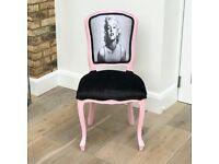 Vintage Newly Restored Marilyn Monroe Crushed Velvet Pink Louis Style Chair