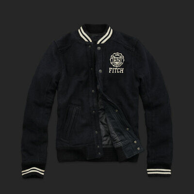 NWT Abercrombie & Fitch A&F Men's Indian Falls Wool Varsity Jacket Outerwear S L