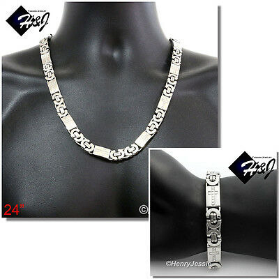 "24""Stainless Steel 10mm Silver Cross Flat Byzantine Box Chain Necklace Bracelet"