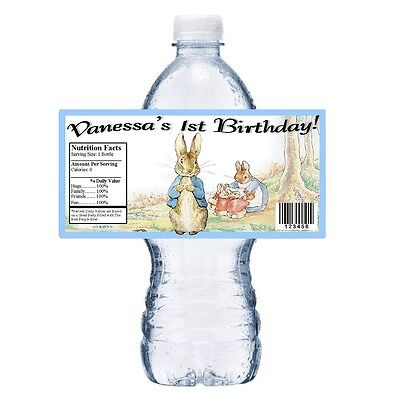 20 PETER RABBIT PERSONALIZED BIRTHDAY PARTY FAVORS WATER BOTTLE LABELS WRAPPERS](Peter Rabbit Party Supplies)