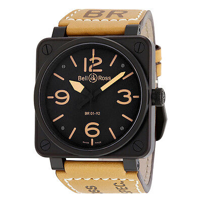 Bell and Ross Heritage Black Dial Tan Leather Strap Mens Watch BR01-92-HERITAGE