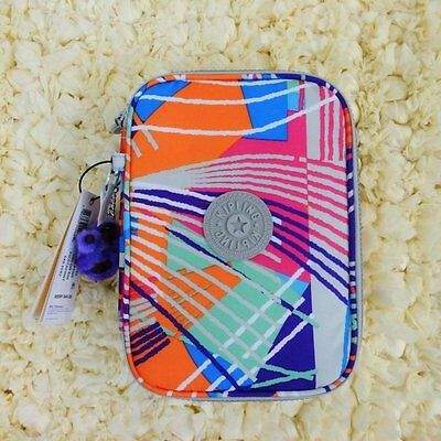 New Kipling 100 Printed Pens Pencil Case Cosmetic Pouch Fiesta Print