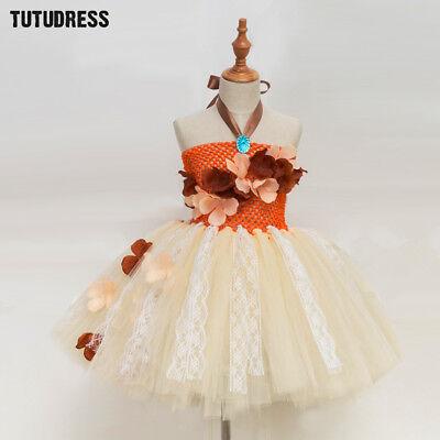 Princess Moana Tutu Dress Girls Birthday Party Lace Tulle Flower Costume - Costume Birthday Party