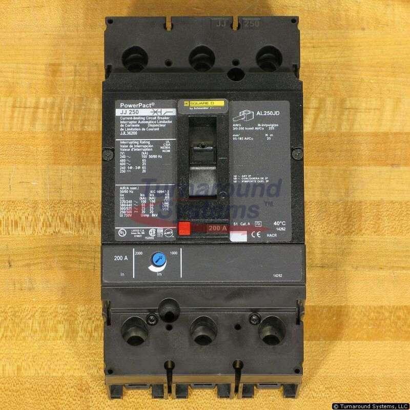 Square D Jjl36200 Circuit Breaker, 200 Amp, 600 Volt, 65 Kair, New!