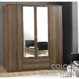 GERMAN BRAND NEW 3 OR 4 DOOR WHITE AND WALNUT OMEGA WARDROBE