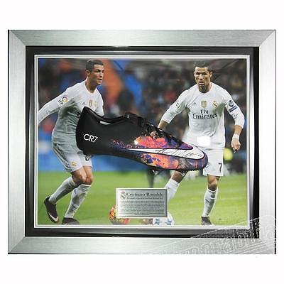 Signed Cristiano Ronaldo Deluxe Framed Black CR7 Boot - Real Madrid