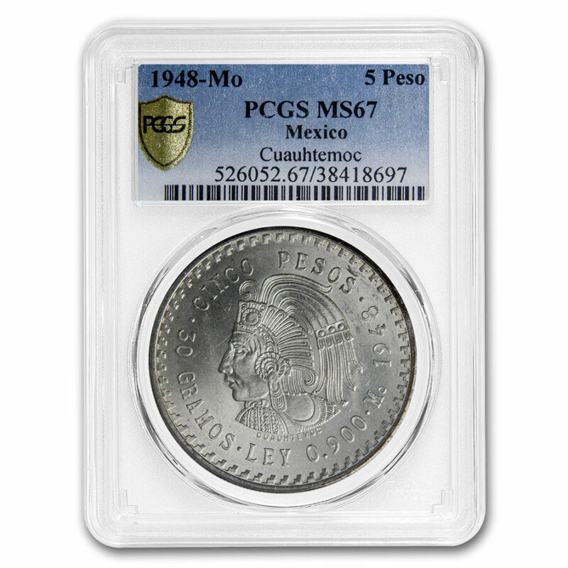 1948 Mexico Silver 5 Pesos Cuauhtemoc MS-67 PCGS - SKU#213001