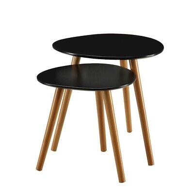 Convenience Concepts Oslo Nesting End Tables, Black/Natural - 203542BL