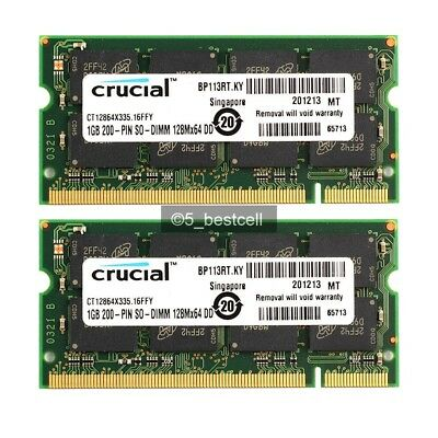 New 2GB 2x 1GB PC2700 DDR 333mhz 200Pin Sodimm Laptop Notebook Memory - Pc 2700 Ddr Notebook Ram