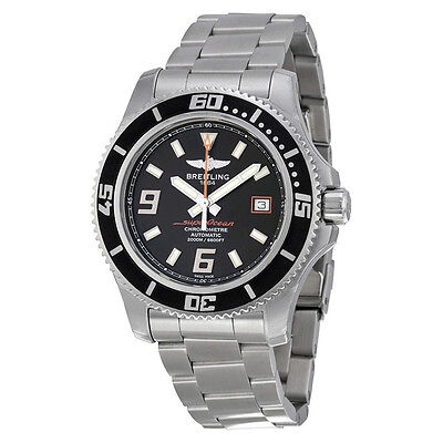 Breitling Superocean 44 Black Dial Stainless Steel Mens Watch A1739102-BA80SS