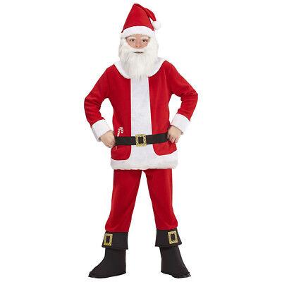 WEIHNACHTSMANN KOSTÜM & MÜTZE & BART KINDER Weihnachten Nikolaus Party  # 0876