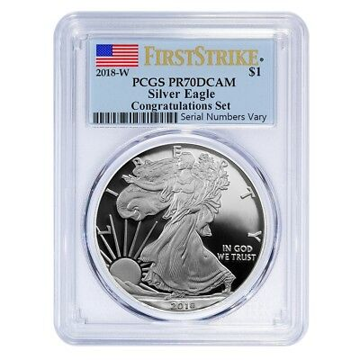 2018 W 1 Oz Proof Silver American Eagle Congratulations Set Pcgs Pf 70 Dcam Fs