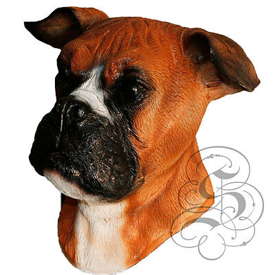Latex BOXER - Dog House Pet Head Realistic Party Mask - Halloween Hen Stag - Boxer Dog Kostüm