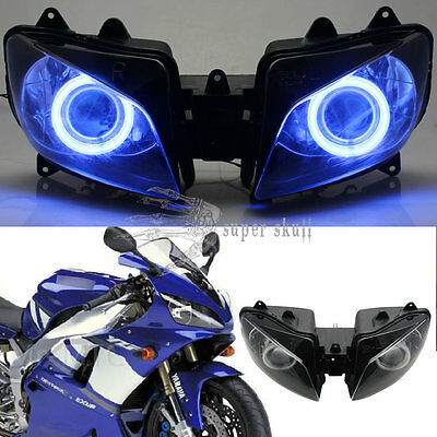 Blue Angel Eyes Projector HID Assembly Headlight Kit For Yamaha YZF R1 2000-2001