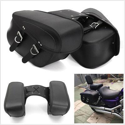 2 Pcs Black Durable PU Leather Motorcycle ATV Luggage Saddle Bags Storage Pocket