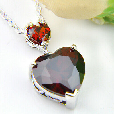 - Natural Jewelry Heart Style Fire Red Garnet Silver Necklace Pendant With Chain