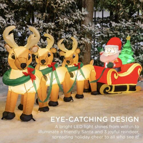 Santa & Reindeer Christmas Inflatables Outdoor Decorations For the Yard Light Up