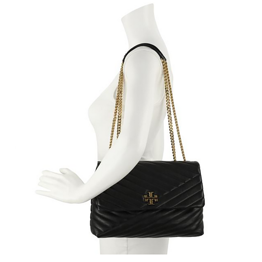 TORY BURCH Kira Chevron Quilted Leather Shoulder Bag New Black Large