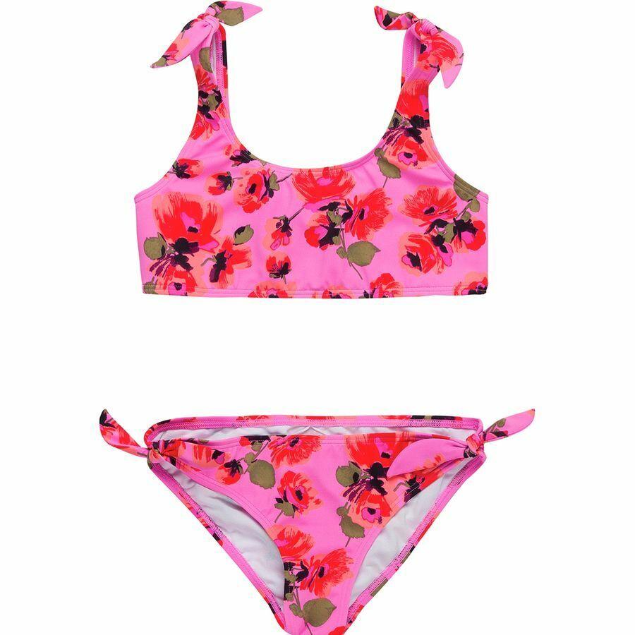 Billabong Mädchen 12 2 Teile Bikini Badeanzug Satz Bella Strand Rosa Geblümt