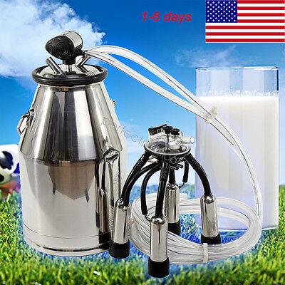 Usa Portable Cow Milker 304 Stainless Steel Milking Bucket Tank Barrel 25l
