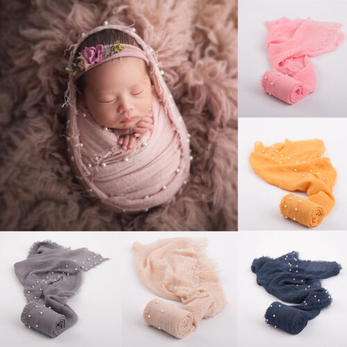 Newborn Photography Props Baby Swaddling Wrap Pearl Scarf Backdrop Photo Studio