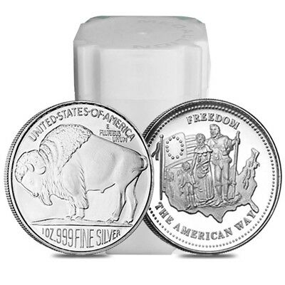 Roll of 20 - 1 oz Silver Generic Rounds .999 Fine (Tube,Lot of 20)