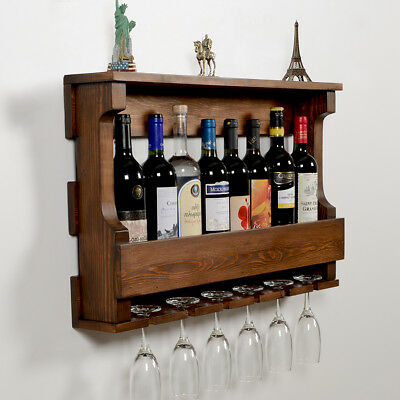 Wall Hanging Wine Rack,Glass Holder, Rustic modern wall mounted wine -