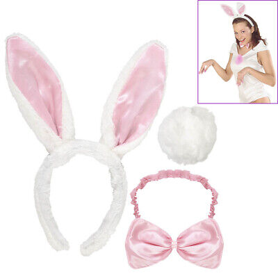HASEN OHREN FLIEGE SCHWANZ Karneval Ostern Party Tier Kostüm Haarreif Bunny 5466 (Bunny Ohren Kostüme)