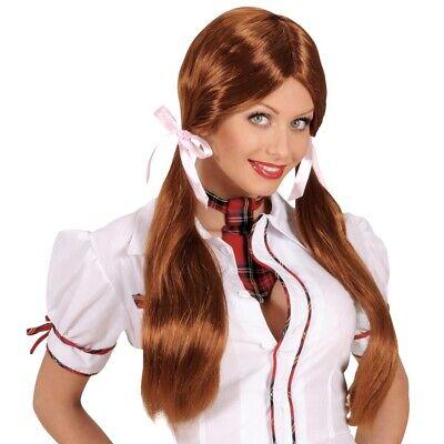 SCHULMÄDCHEN ZOPF PERÜCKE braun Karneval Zöpfe Lolita Mädchen Kostüm Party (Kostüm Zöpfe)