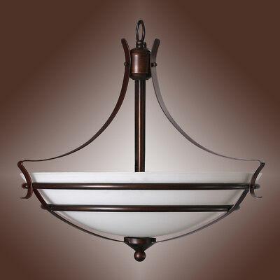 3-Light Matte Bronze / White Frosted Glass Bowl Pendant 20