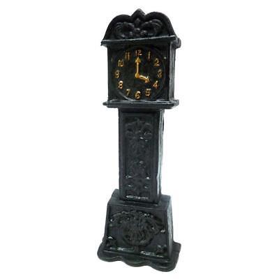 "9"" Ebony Grandfather Clock Cast Iron Collectible Still Action Coin Bank"