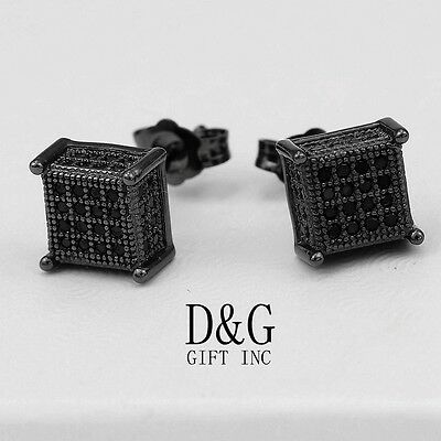 DG Mens Black Sterling Silver 925.Ice-Out CZ 6mm Square Stud Earring.Unisex,Box Black Stud Earring Box