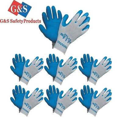 Showa Atlas Fit 300 Natural Rubber Palm Coated Work Gloves Blue Gen Purpose 1 Dz
